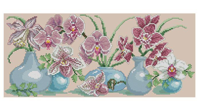 Borduurpatroon Bloemen - Planten *Cross Stitch Flowers - Plants  ~Orchidee in vaasjes 1/5~