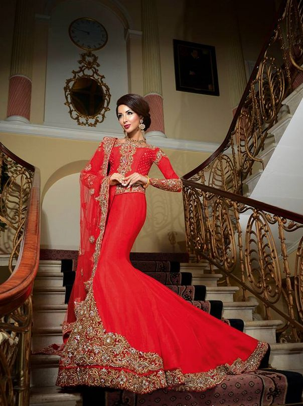 Red lengha by Fusion Asian Bridal. Sabeeka for Khush Magazine.