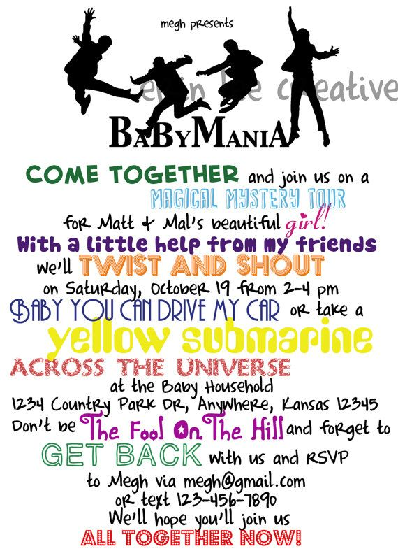 Pin By Renee Barbeau On Baby Baby Shower Invitations Beatles