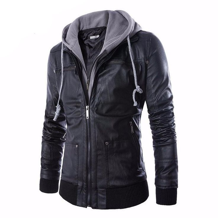 Mens Faux Leather Jacket with Detachable Hood