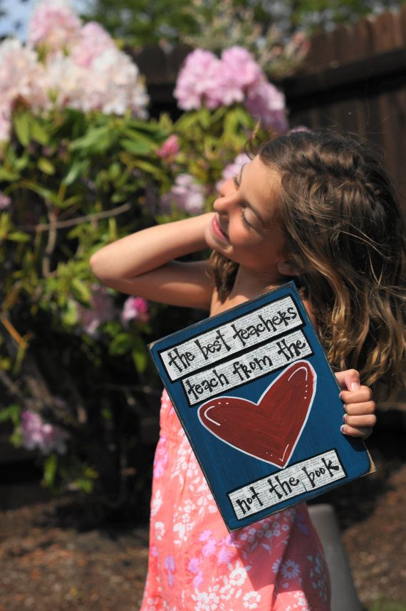 the best teachers teach from the heart handmade card. $13.95, via Etsy.