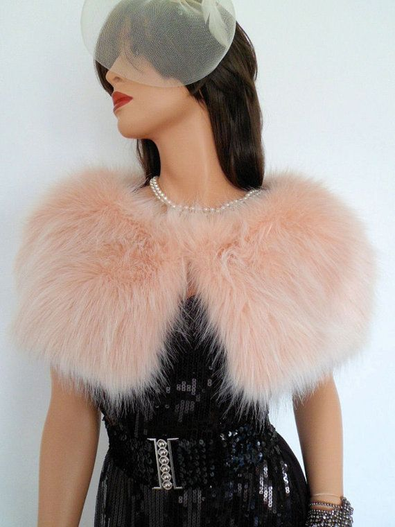 blush fur capelet peach fur stole fake fur wrap by thepurplegenie