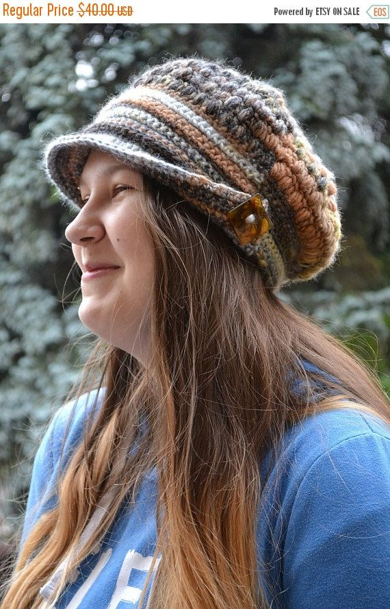 SALE 5% OFF Brown Crocheted  PEAKED Cap beanie Slouchy Winter Fashion , very warm,women hat,Girls Hat,unique gifts