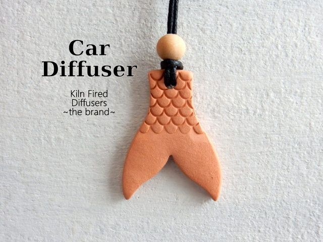 Terracotta Clay Mermaid Tail Shaped Rear View Mirror Essential Oil Car Diffuser Pendant Ornament Healing Aroma Ceramic Stocking Stuffer Gift