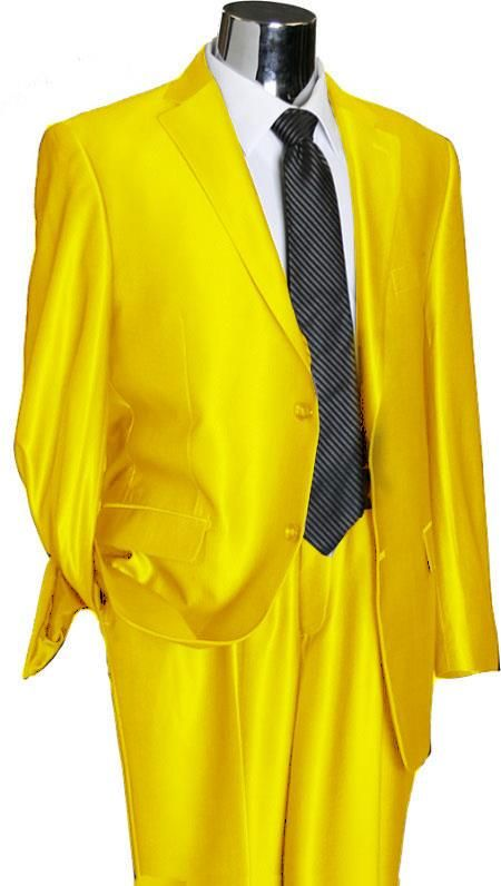 Sku Ylu44 Utex Shiny 2 Button Yellow Tnt Sharkskin Mens