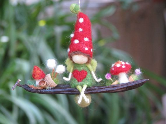 Toadstool faerie, fairy, elf. Little garden mushroom gnome. Wool felt and seed pod. Needle felted little magic garden by Made4uByMagic
