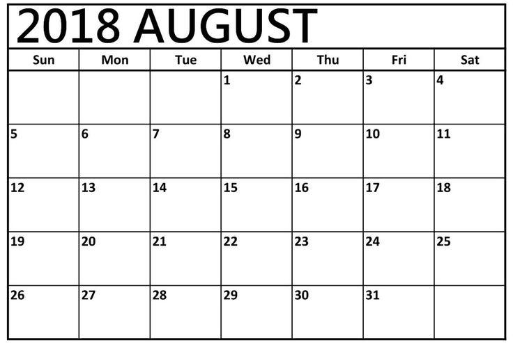 The 37 best August 2018 Calendar images on Pinterest