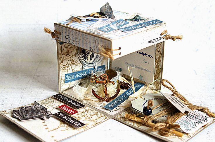 morski exploding box #scrapbooking #explodingbox #marine #naval #nautical