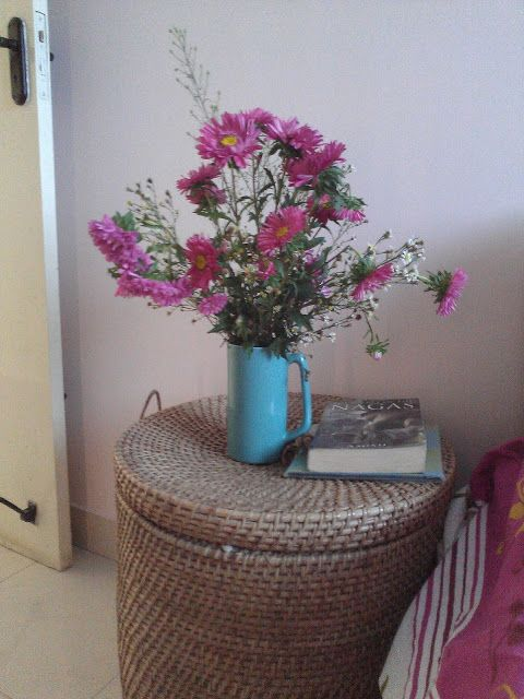 Cane Basket used as a bedside table