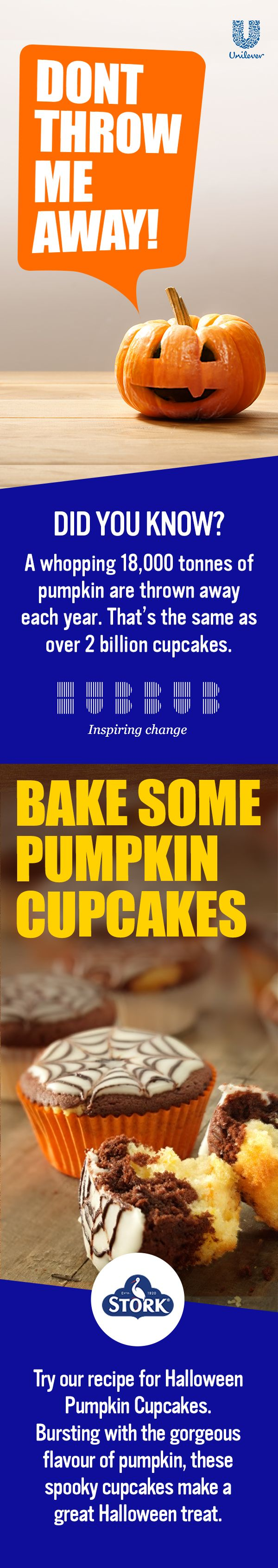Did you know: A whopping 18,000 tonnes of Pumpkin are thrown away each year? That's the same as over 2 billion cupcakes. Join Hubbub and Unilever in inspiring change. Get involved here: https://brightfuture.unilever.co.uk/stories/494523/Turn-your-carvings-into-cravings-this-Halloween.aspx. These delicious Stork Halloween Cupcakes are bursting with flavor. The orange infused icing sugar combines with the chocolate for each mouthful. These pumpkin cupcakes can be your spooky surprise at…