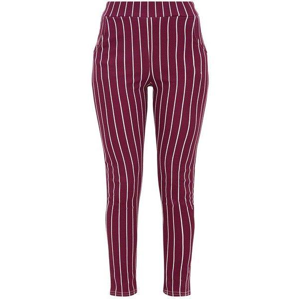Burgundy Pinstripe Skinny Trousers ($25) ❤ liked on Polyvore featuring pants, capris, purple skinny pants, burgundy pants, burgundy trousers, skinny pants and purple pinstripe pants
