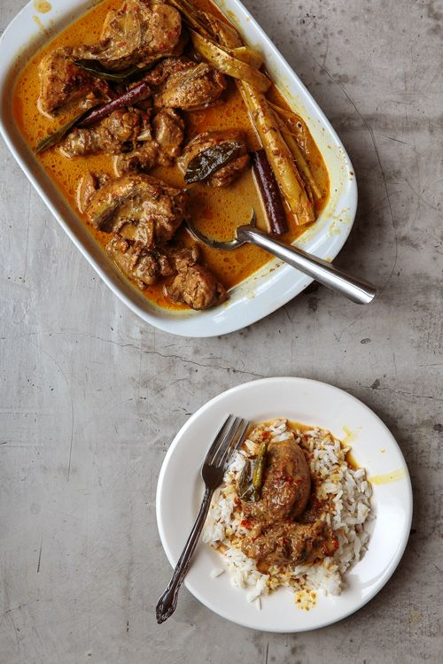 An aromatic Indonesian curry with chicken, kaffir lime, spices, and coconut milk.