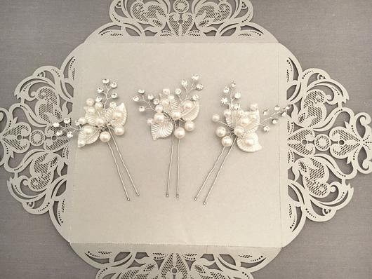Bridal Hair Pins with Pearls, Crystals and Pearly Leaves
