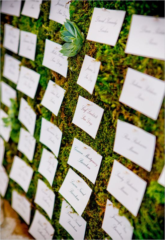 Place settings pinned to a moss and succulent wall - wonderfully natural wedding idea