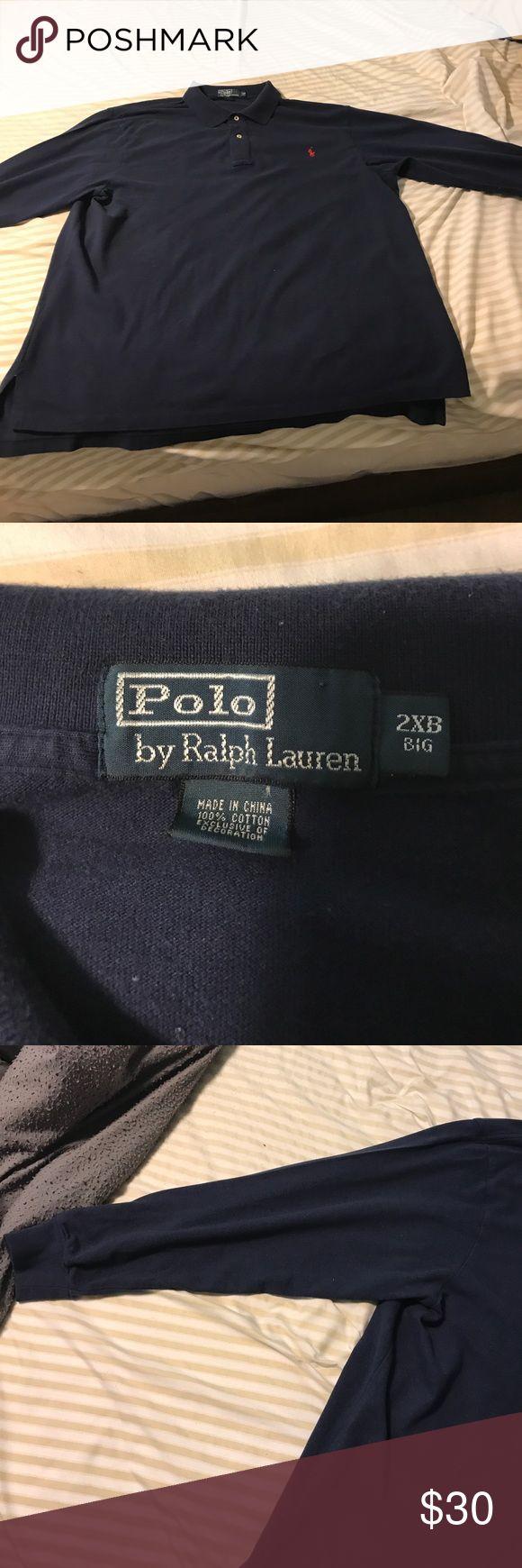 Long sleeve polo shirt blue Blue long sleeve polo collar shirt size is 2xB Shirts Polos