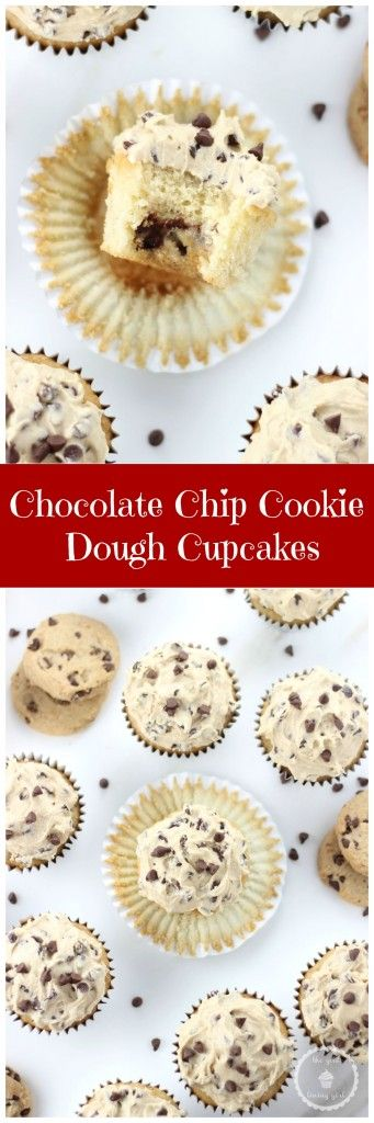 CHOCOLATE CHIP COOKIE DOUGH CUPCAKES! Vanilla cupcakes filled with chocolate chip cookie dough and topped with chocolate chip cookie dough frosting! #recipe #thegoldlininggirl #cupcakes #chocolatechipcookiedough