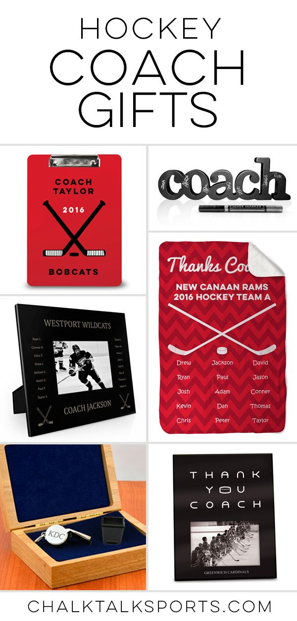 Thank your awesome Hockey Coach with these thoughtful hockey inspired gifts! Create a special momento with the names of everyone on the team for a unique gift that won't be forgotten.