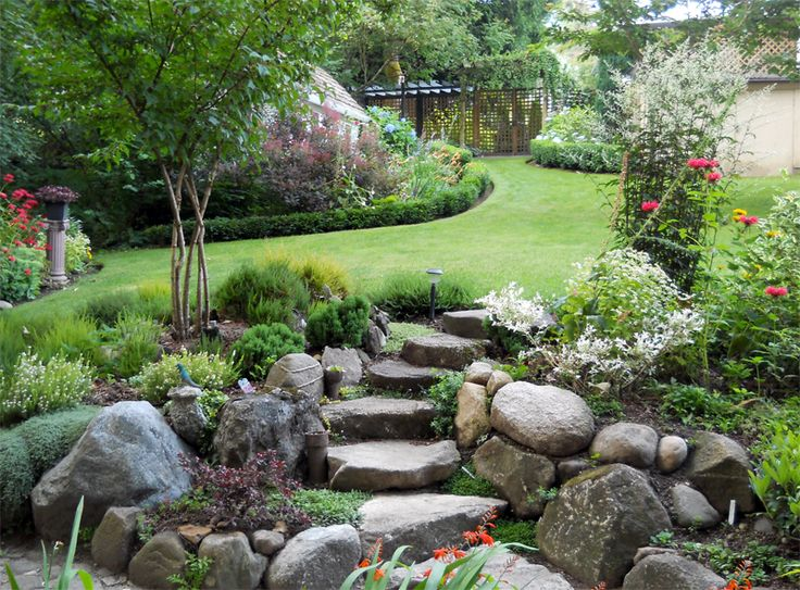 rockery slope steps ponds and water features