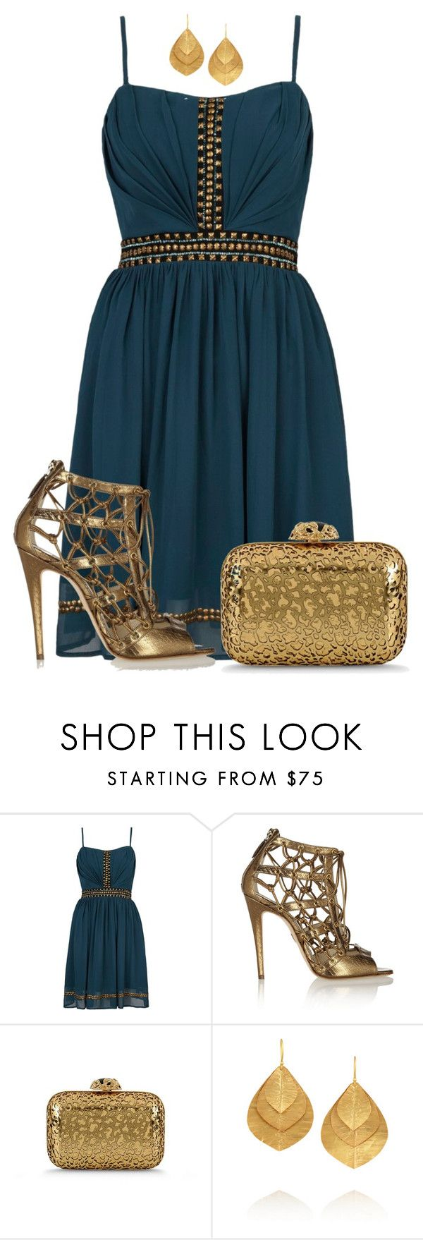 """Teal Studded Dress"" by katiediab ❤ liked on Polyvore featuring Yumi, Brian Atwood, Sergio Rossi, Kevia, outfit, gold, Studs, dress and teal"