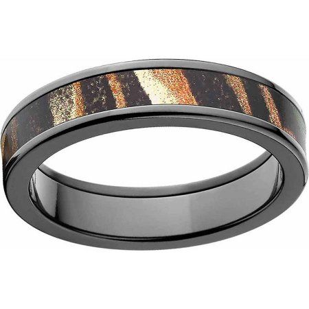 Mossy Oak Shadow Grass Men's Camo Black Zirconium Ring with Polished Edges and Deluxe Comfort Fit, Size: 12.5