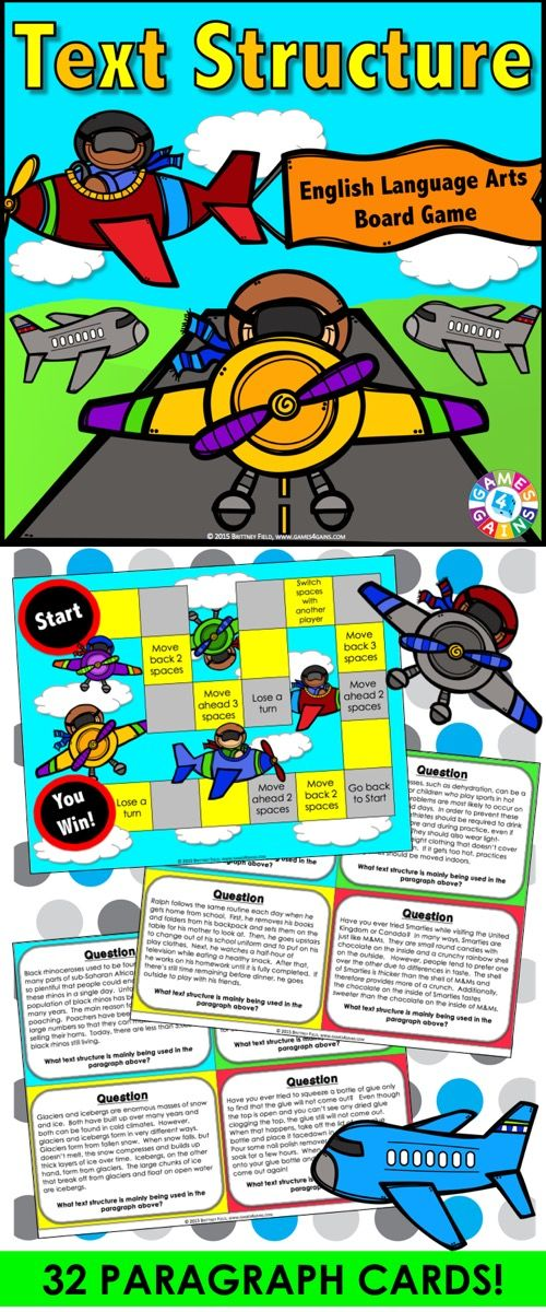 Text Structures game contains 32 game cards and a game board to help students practice identifying the text structure used in a paragraph of text. The types of text structures included are description, cause and effect, problem and solution, compare and contrast, and sequence/chronological order. This text structures game works great as a pair/group activity, or for use in literacy centers.