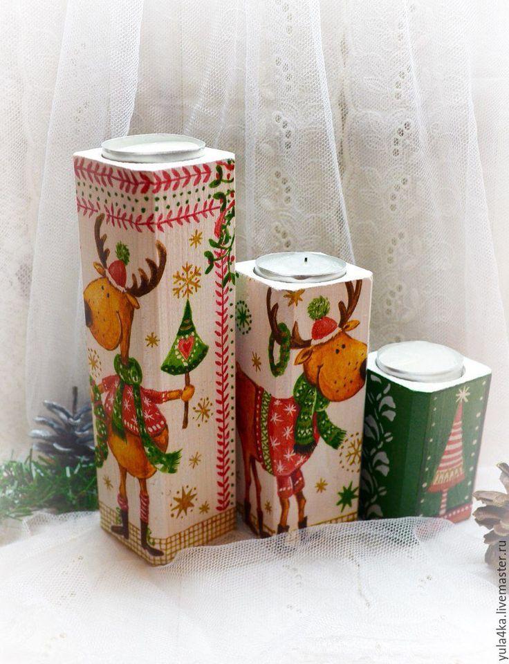 """Купить Подсвечники """"Новогодние Лосики"""" - белый, подсвечник, набор подсвечников, подсвечники декупаж, Новый Год"""