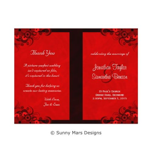 Red Floral Hibiscus Custom Wedding Program with Ceremony and Wedding Party Details by sunnymars  of SunnyMarsDesigns. These fully customizable stylish, modern, trendy, chic, elegant programs feature a dark red swirly tropical hibiscus floral decoration design. Fold this program in half to make it an elegant booklet.  Click through to see matching wedding stationery and related products.