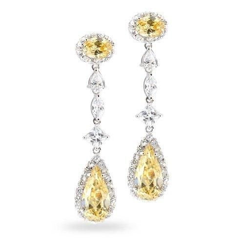 Bling Jewelry Vintage CZ Yellow Canary Color Chandelier Earrings Silver Tone