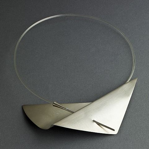 Claude Chavent, Claude Chauvent sterling neck ring with pierced folded metal