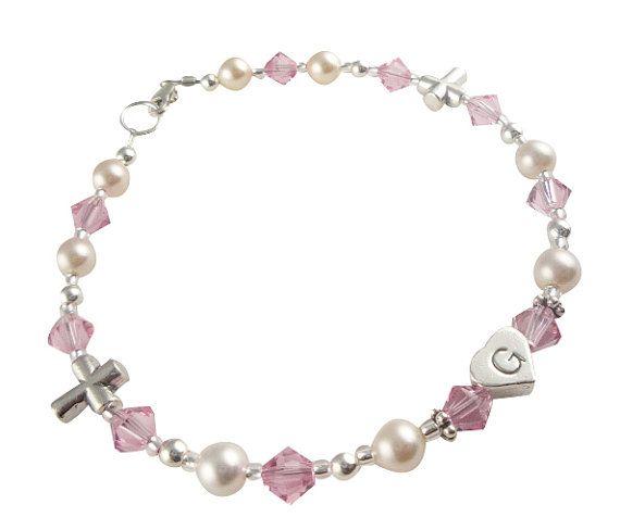 Light rose Crystal Cross Bracelet for Girls for by DesignsbyCrissi