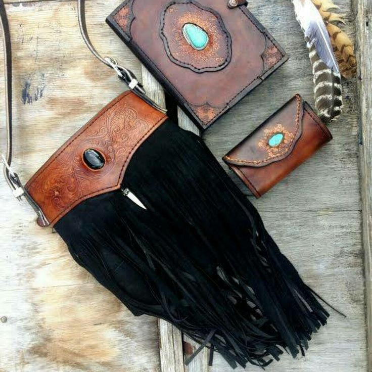 Carved leather tassel bag crystal inlay