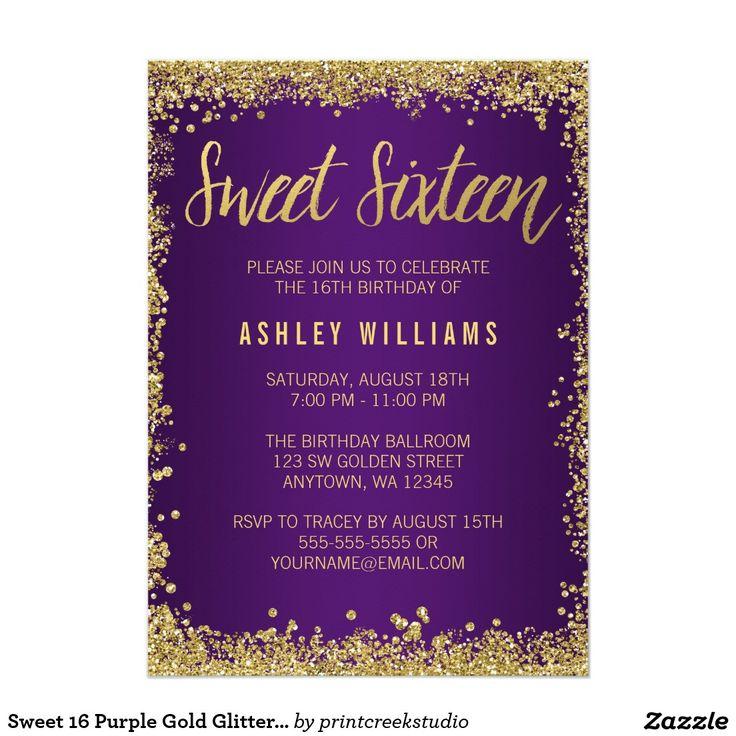 Sweet 16 Purple Gold Glitter Birthday 5x7 Paper Invitation Card