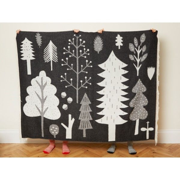 Lambswool throw from @donnawilsonltd, monochrome, trees, woods, woodland, pattern, print