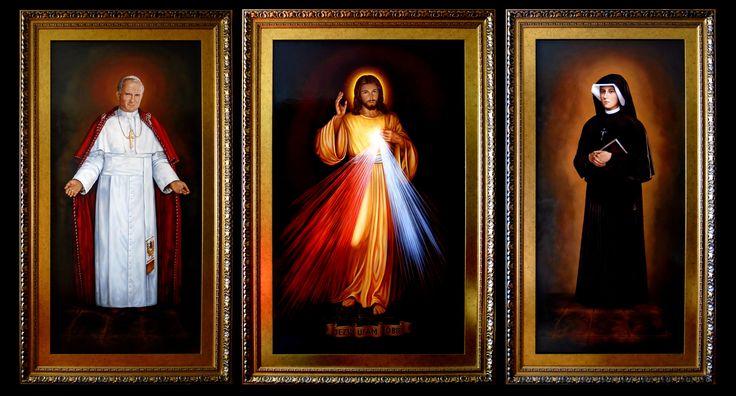 Miłosierdzie Boże, Jezu Ufam Tobie, Tryptyk,  Wymiar zewnętrzny 175,5cm x 306,5cm,  Obrazy olejne na płótnie