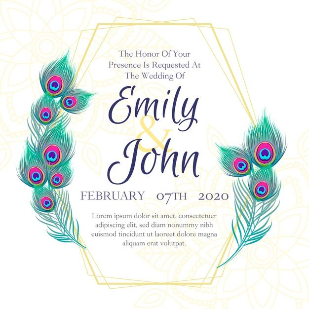 Download Wedding Invitation Template With Peacock Feathers For Free Wedding Invitation Templates Invitation Template Peacock Wedding Invitations