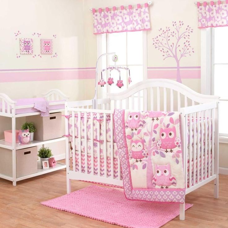Chevron Pink Forest and Owls Baby Girls Nursery Crib 3 Piece Infant Bedding Set