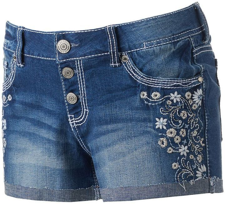 Juniors' Amethyst Embroidered Button Fly Shortie Shorts