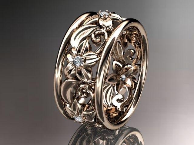 Fabulous Custom Made kt rose gold diamond leaf and vine wedding ring engagement ring wedding