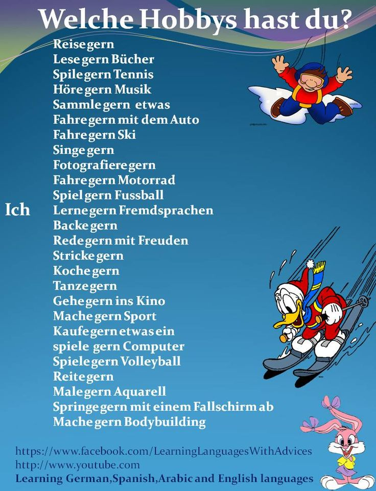 Welche Hobbies hast du? - Lots of misspellings, but useful.