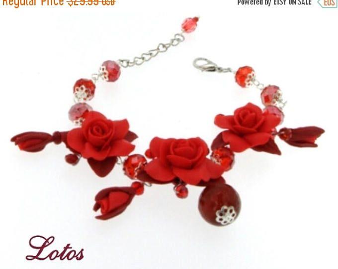 CIJ Sale Celebrate Summer Party Peach Flower Rose Bracelet Color Blue Ultramarine Red Pink Bracelet Anniversary Gift  Women Girl Girlfriend