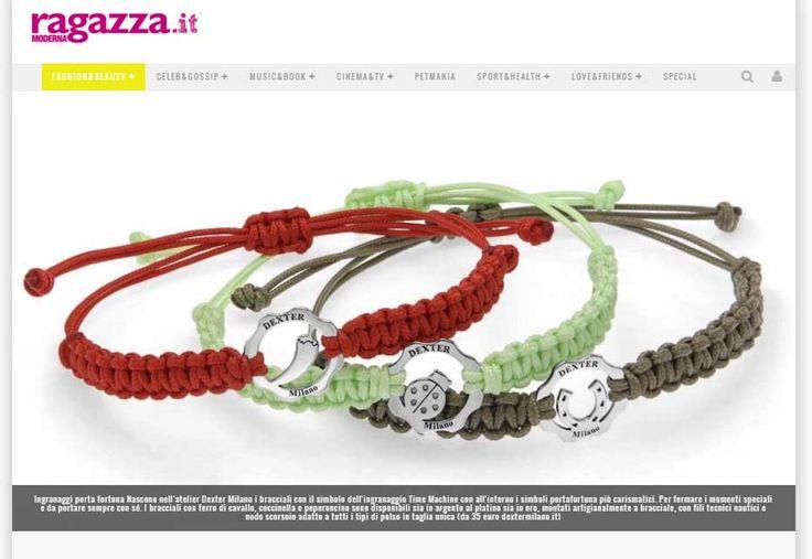 RAGAZZAMODERNA.IT DICEMBRE 2015 -  Bracciali Simboli della fortuna in argento - Good Luck Bracelet   www.dextermilano.com @DEXTER Milano #timemachine #bangle#Bracciale #fortuna#colore #colors #gear #ingranaggio #gioielli #jewelry#luck