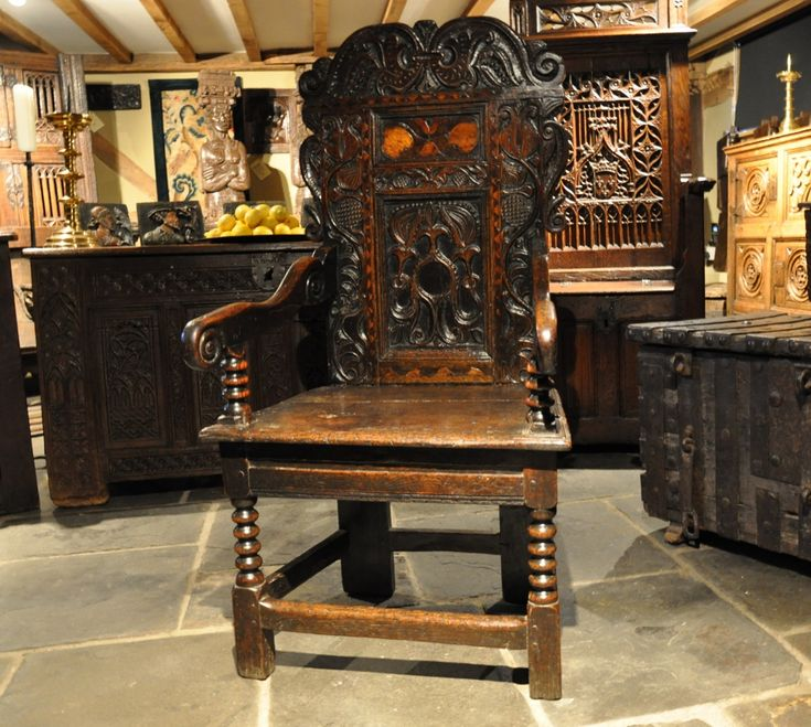 A WONDERFUL CHARLES II YORKSHIRE OAK AND INLAID WAINSCOT ARMCHAIR. CIRCA  1670.-THIS - 57 Best Antique Oak Chairs - Oak Settles Images On Pinterest