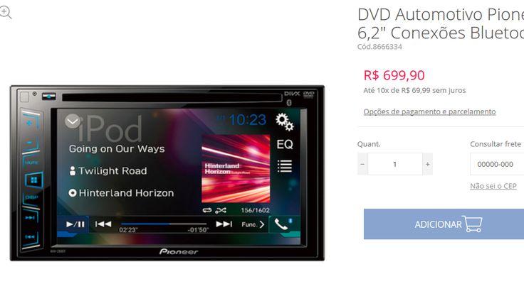 """DVD Automotivo Pioneer AVH-298BT Tela 62"""" Conexões Bluetooth USB RCA e MP3 << R$ 62990 em 10 vezes >>"""