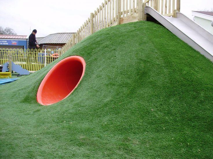 Playground Grass Mound With Slide And Tunnel Ground