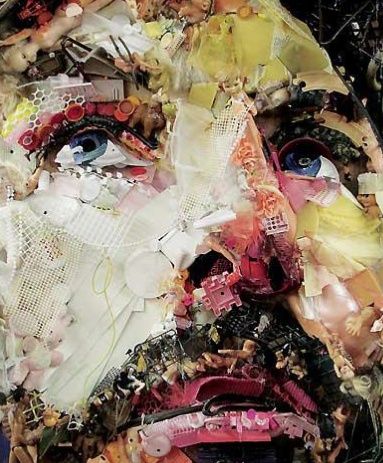 Tom Deininger creates enormous portraits and landscapes by using found objects and trash.