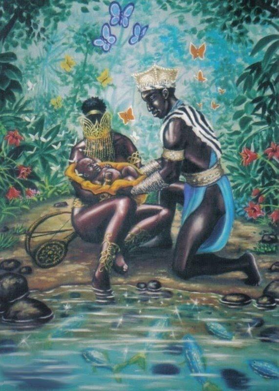 Oxum Yapondá e Oxóssi, com Logun Edé - autor desconhecido