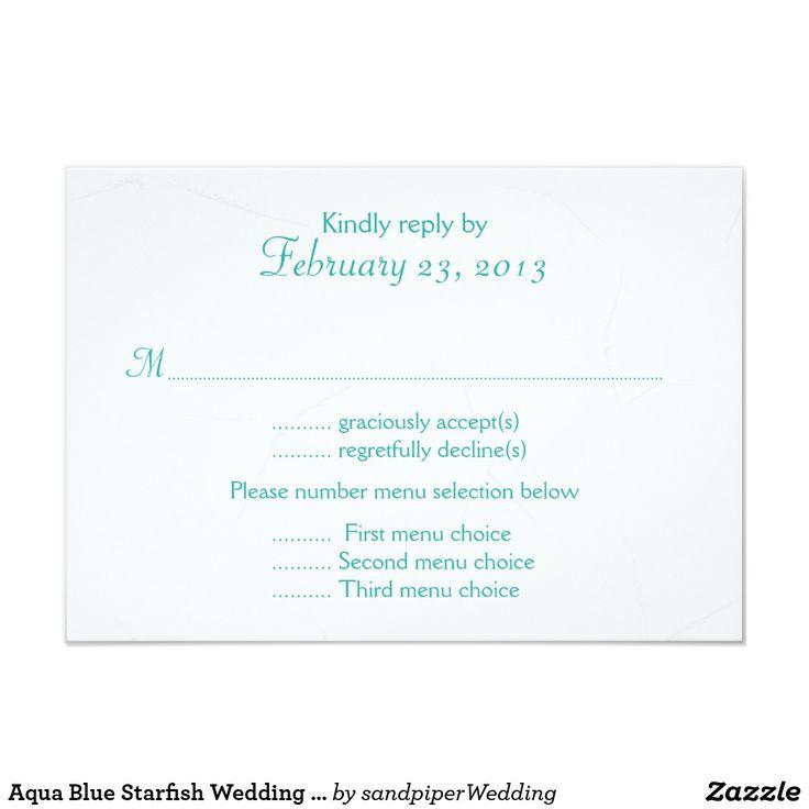 Aqua Blue Starfish Wedding Menu Reply Card