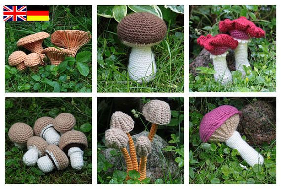 PDF... ***This listing is for the crochet pattern only. Finished mushrooms are not included!*** Make a lovely fall decoration with this beautifull mushrooms. This crochet pattern will instruct you on how to crochet following mushrooms: Champignons (4 shapes/sizes) Chanterelle (4 shapes/sizes) Mycena (4 shapes/sizes) Bloody Brittlegill (2 shapes/sizes) King Bolete (1 shape/size) Rosy Spike Cap (1 shape/size) You can use any kind of yarn to crochet these mushroom...