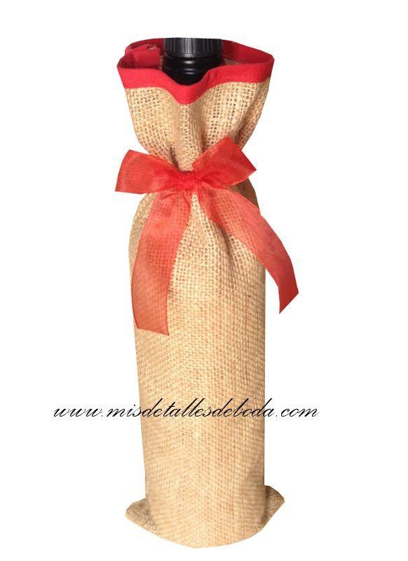 saco de yute con detalle en color rojo para botellas de vino saco de yute para detalle de boda, saco de yute botella de vino