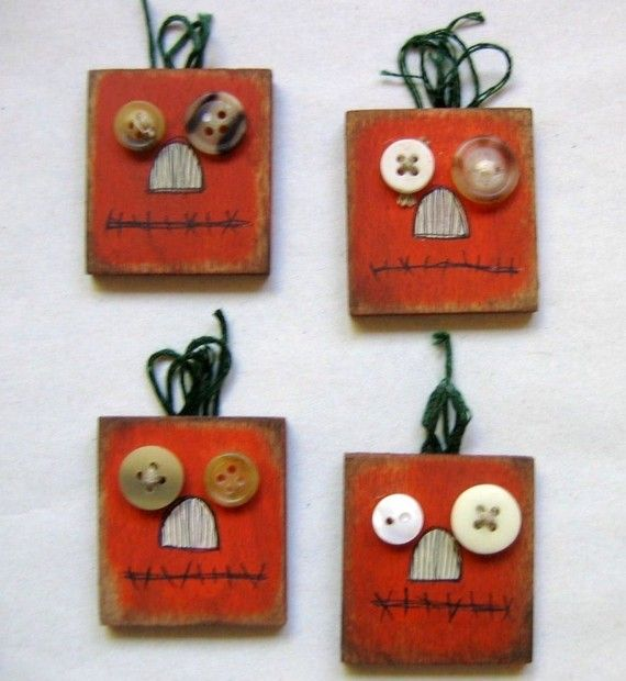 Halloween Primitive and Rustic Pumpkin Magnets Tole Painted..